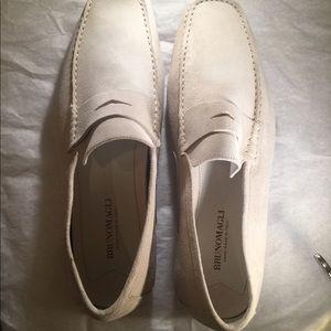 NEW Bruno Magli Men's White Suede Loafers Size 13